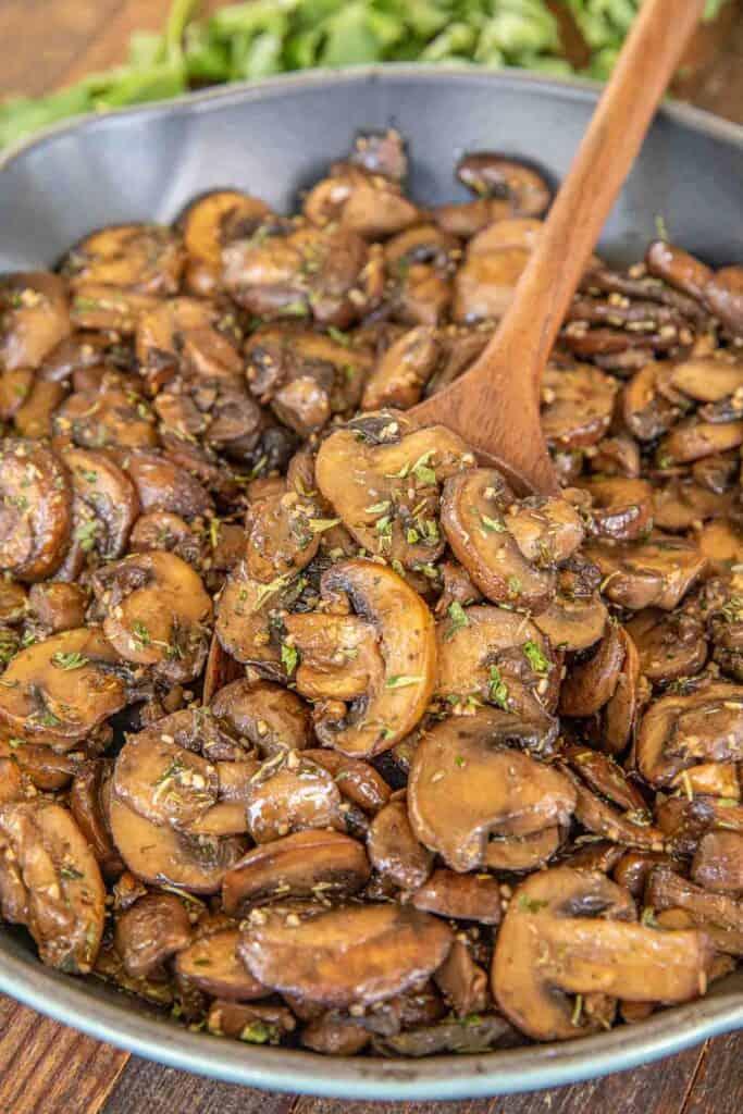 skillet of mushrooms