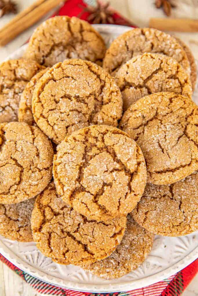 plate of gingersnap cookies