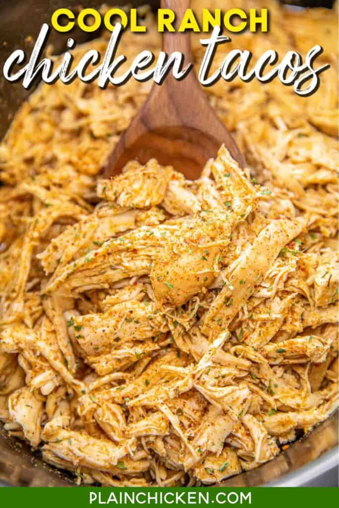 slow cooker of taco chicken