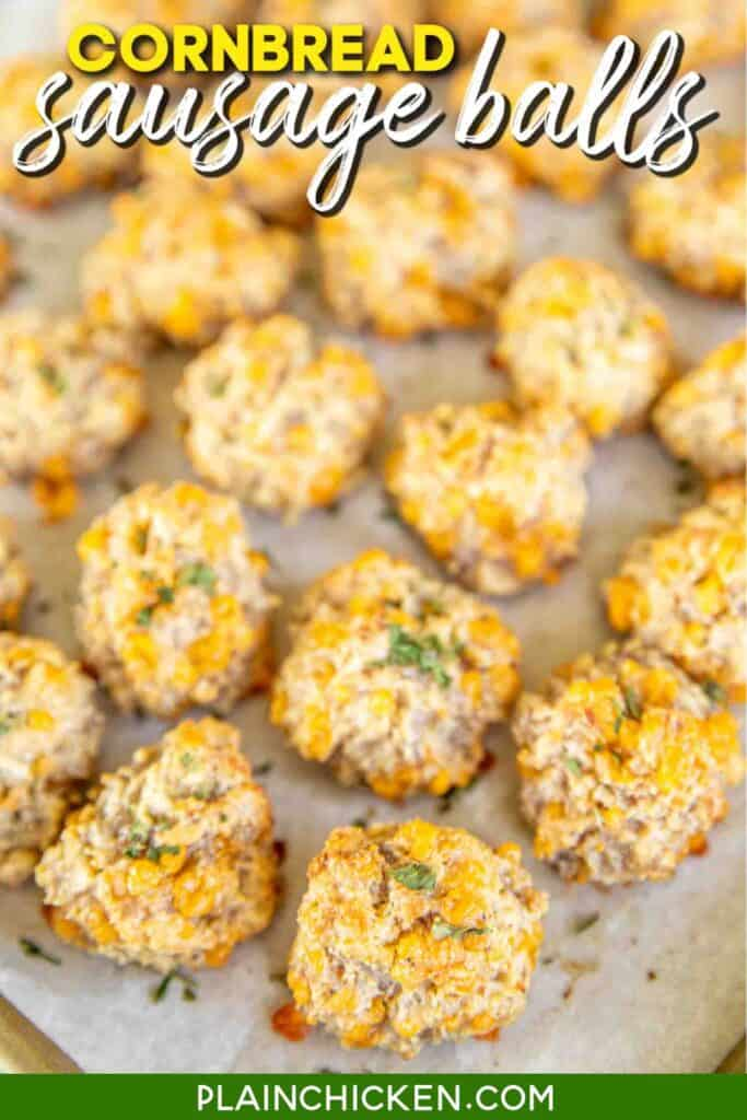 baking sheet of cornbread sausage balls
