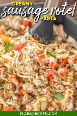 skillet of sausage and tomato pasta