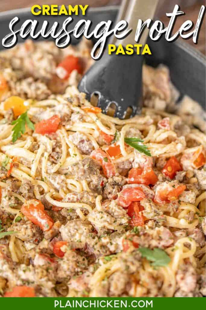 skillet of sausage and tomato pasta