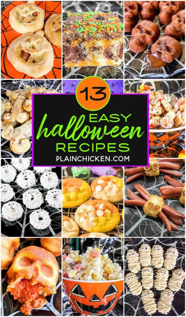 collage of 12 halloween recipes
