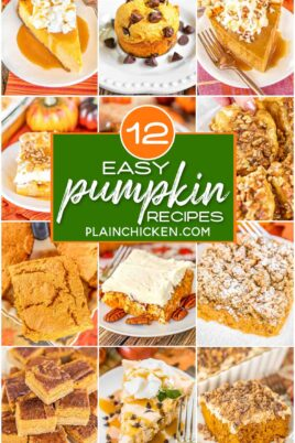 collage of 12 pumpkin recipes