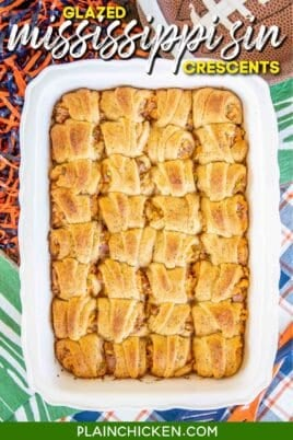 ham and cheese crescent rolls in baking dish