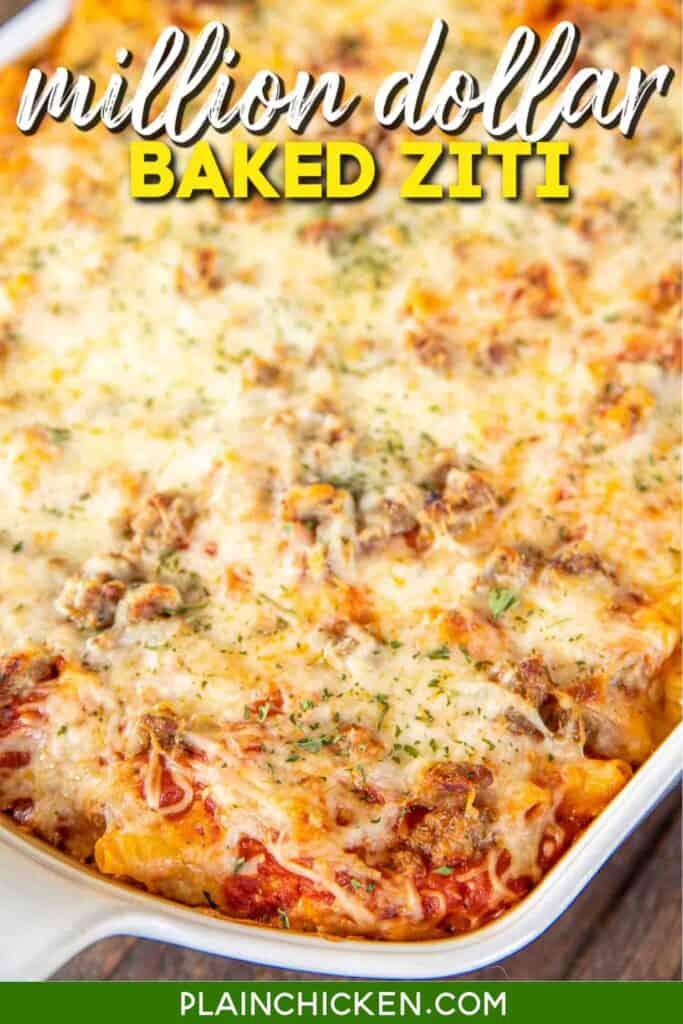 casserole dish of baked ziti