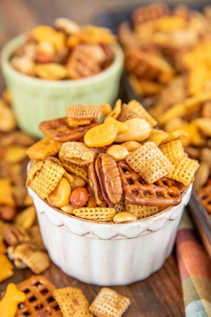 chex mix in snack bowls