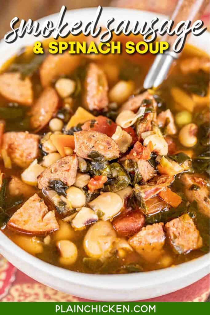 bowl of sausage and spinach soup