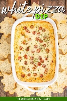 baking dish of pepperoni white pizza dip
