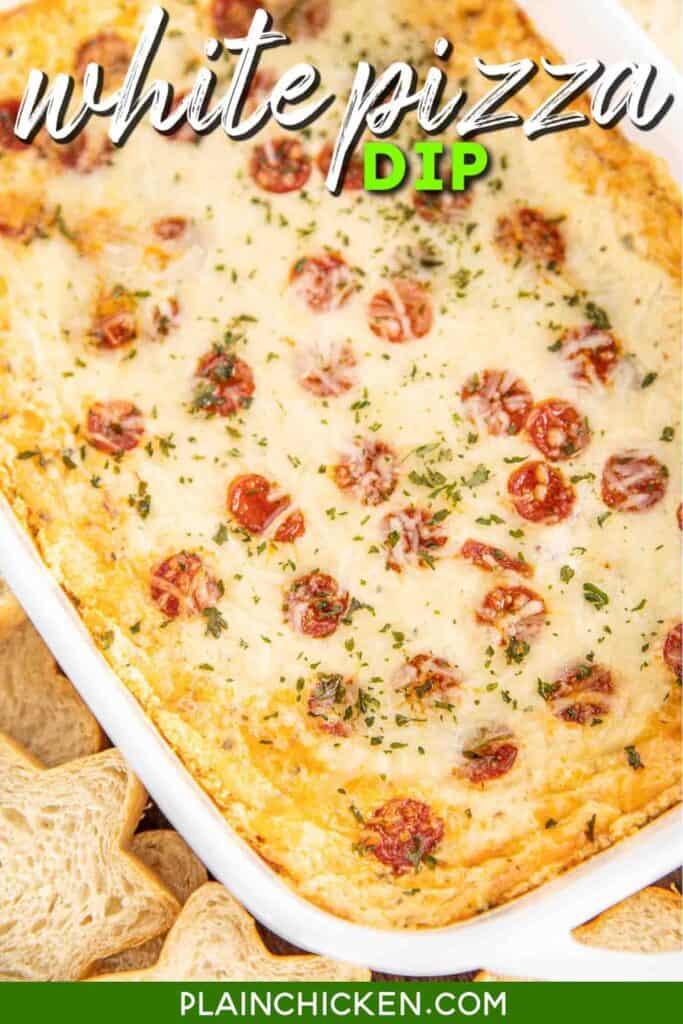 baking dish of pepperoni white pizza dip
