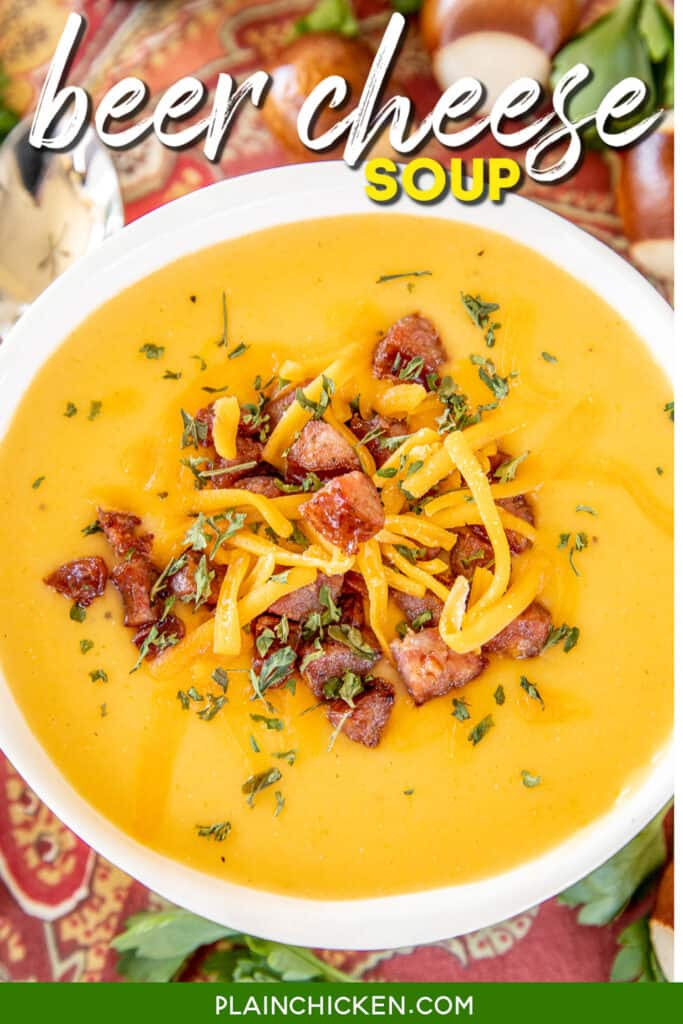 bowl of beer cheese and smoked sausage soup