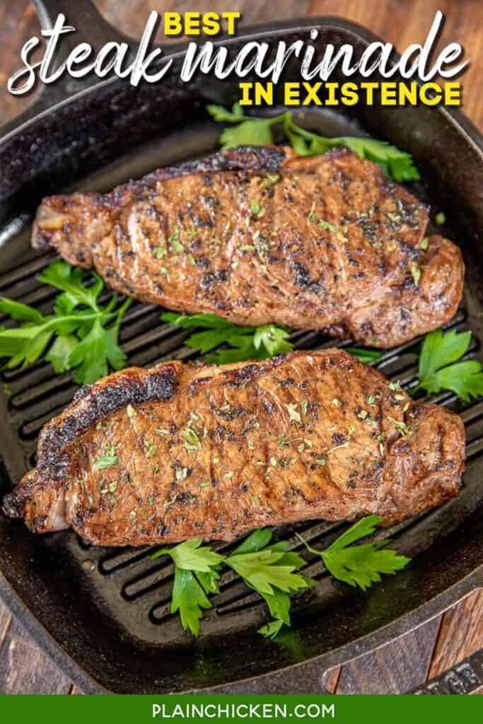 two steaks in a grill pan