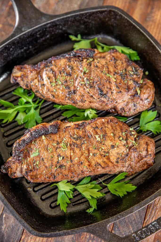 steaks in a grill pan