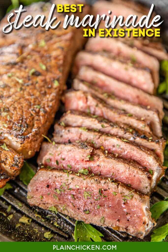 sliced steak in a grill pan