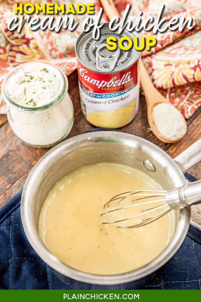 saucepan of homemade cream of chicken soup with mix, can and spoon in the background