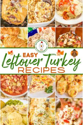 collage of recipes that use leftover turkey