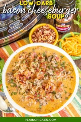 bowl of bacon cheeseburger soup