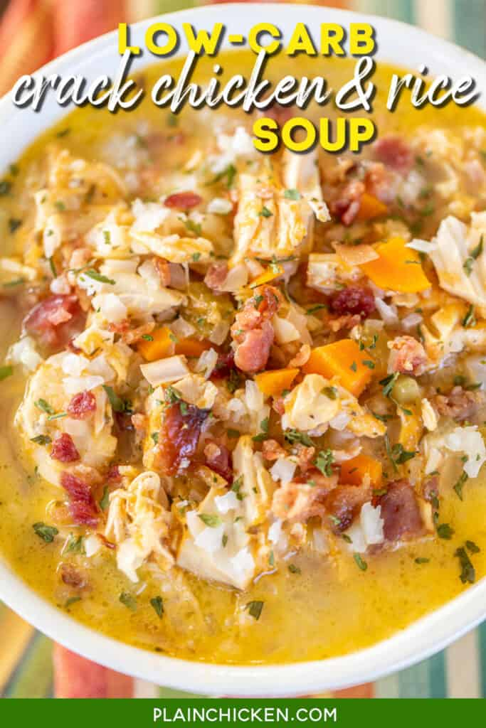 bowl of chicken and cauliflower rice soup
