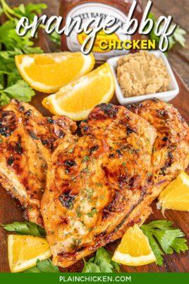 platter of bbq chicken with oranges