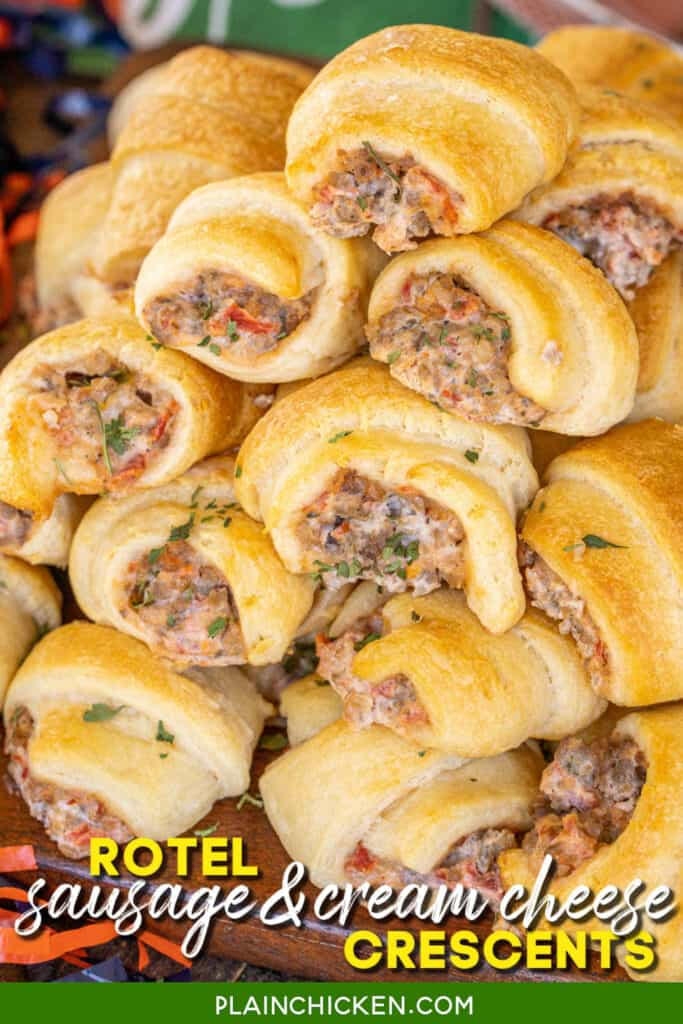 platter of crescent rolls stuffed with sausage cream cheese and rotel