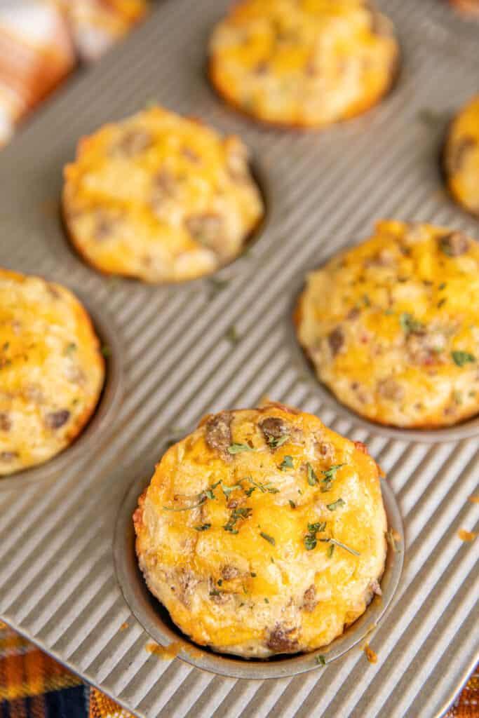 muffin pan of sausage breakfast muffins