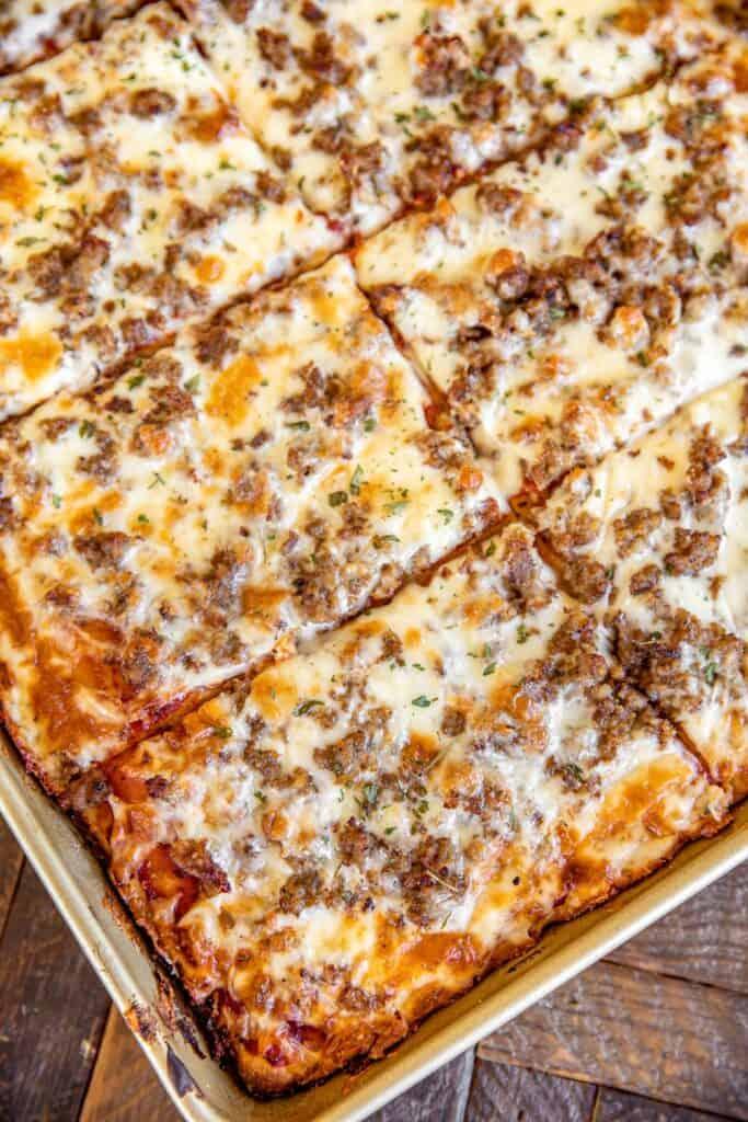 sheet pan of rectangle pizza