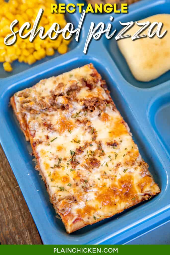 lunch tray with rectangle pizza