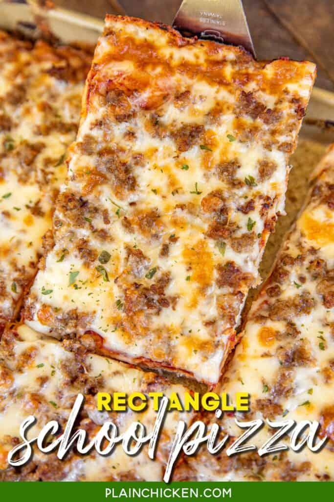 slice of rectangle pizza on a spatula
