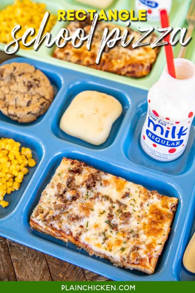 lunch tray with rectangle pizza, milk, corn, and a roll