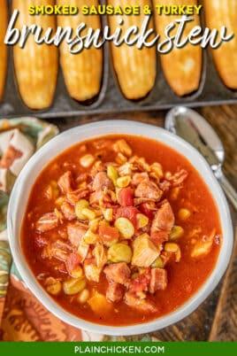 bowl of brunswick stew with cornbread