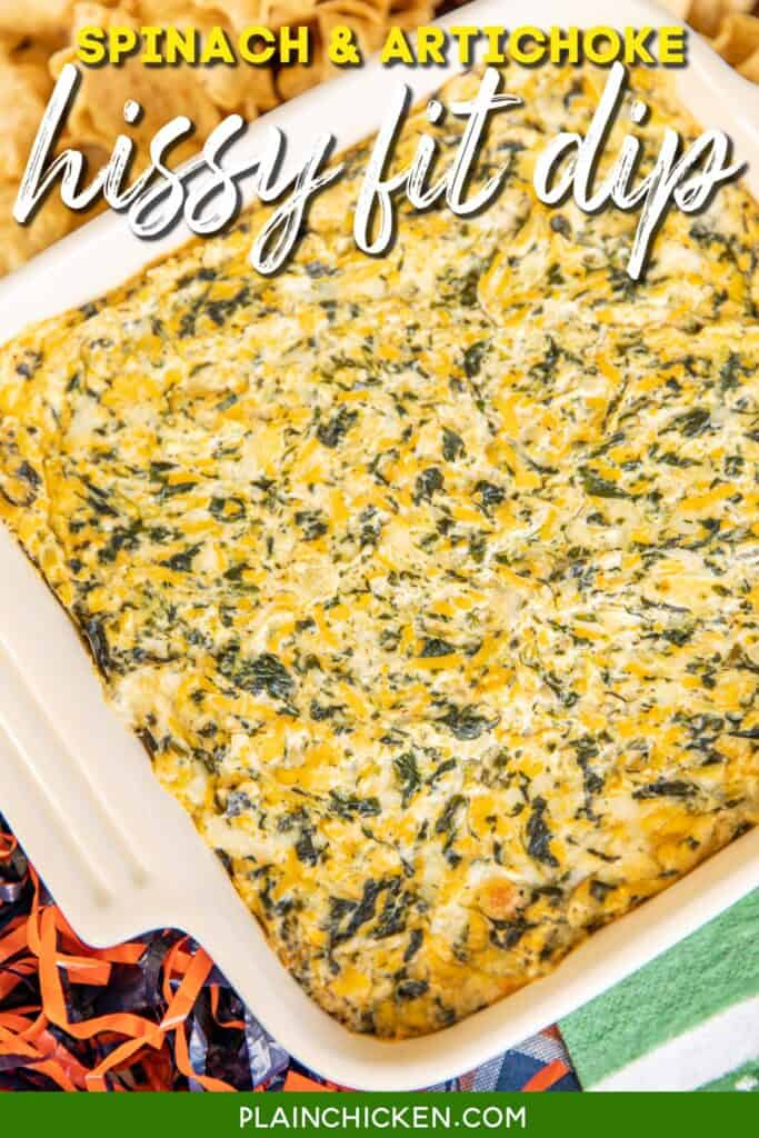 baking dish of spinach dip