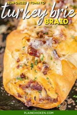turkey and cheese crescent sandwich braid