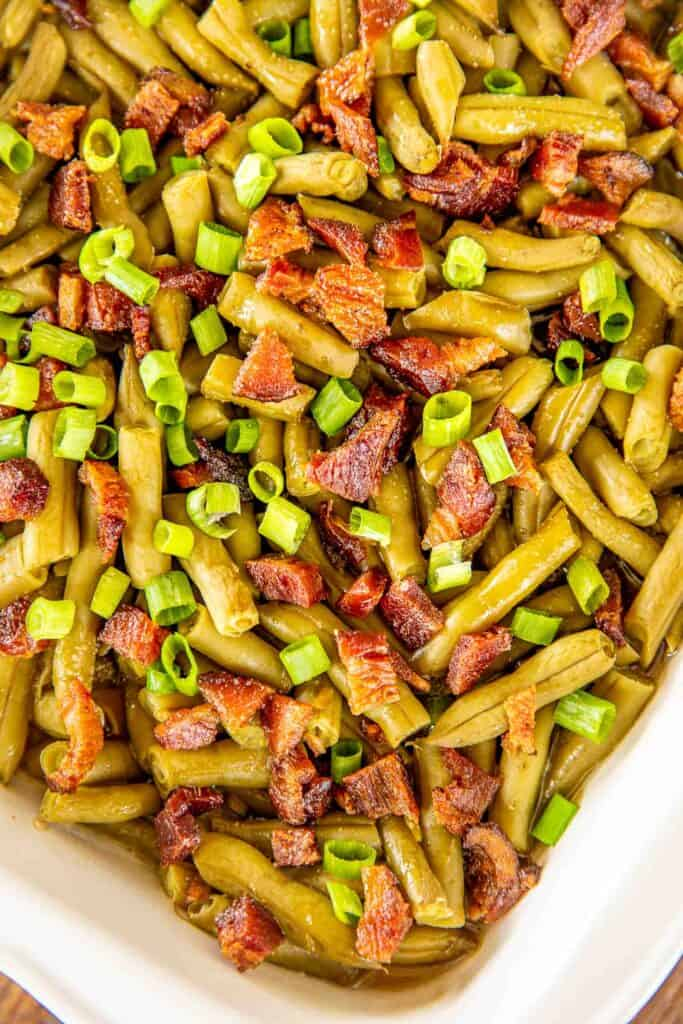 green beans and bacon in baking dish