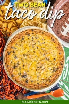 baking dish of bean and taco dip
