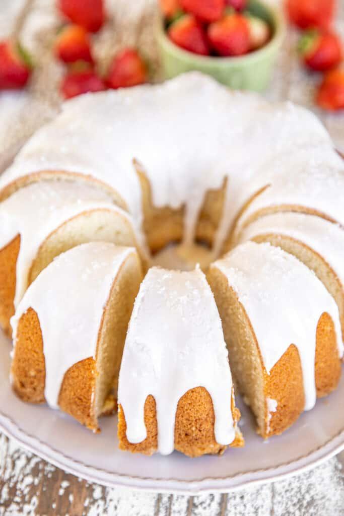 iced pound cake on a platter