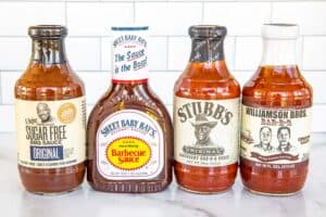 4 bottles of store-bought BBQ sauce