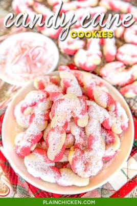 plate of candy cane cookies