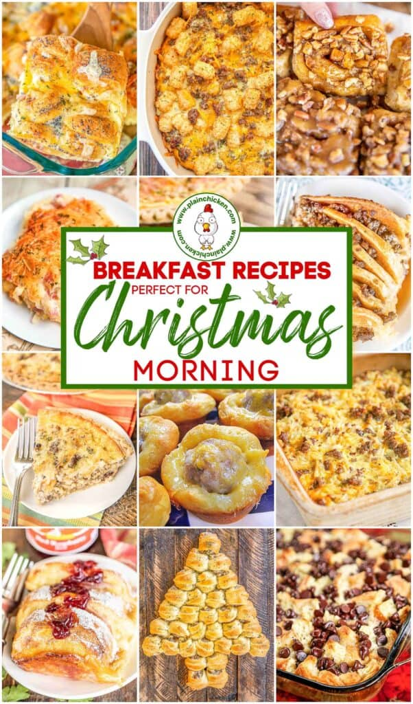 collage of 12 breakfast recipes for christmas morning