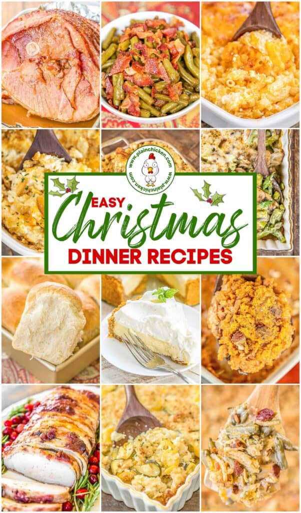 collage of christmas dinner photos