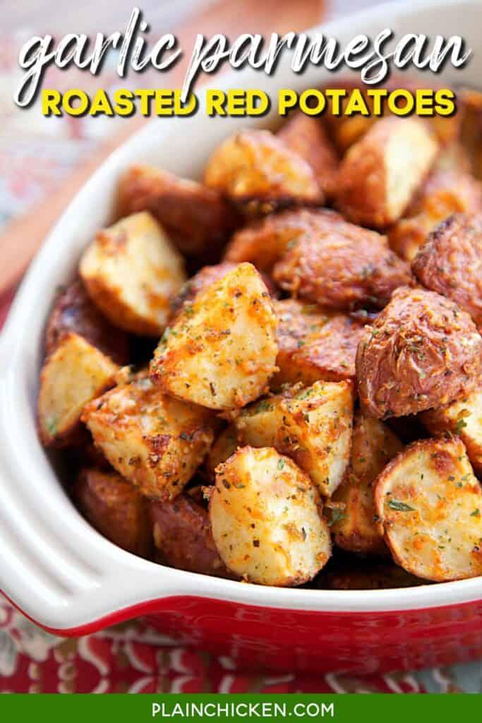 baking dish of roasted parmesan red potatoes