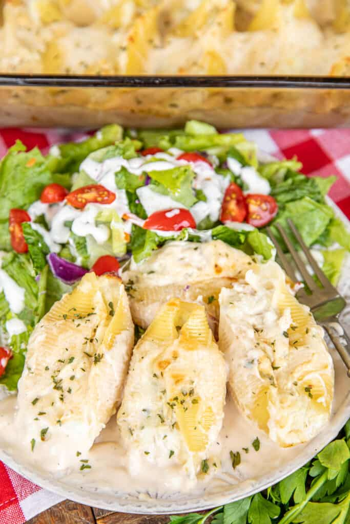 plate of chicken alfredo stuffed shells