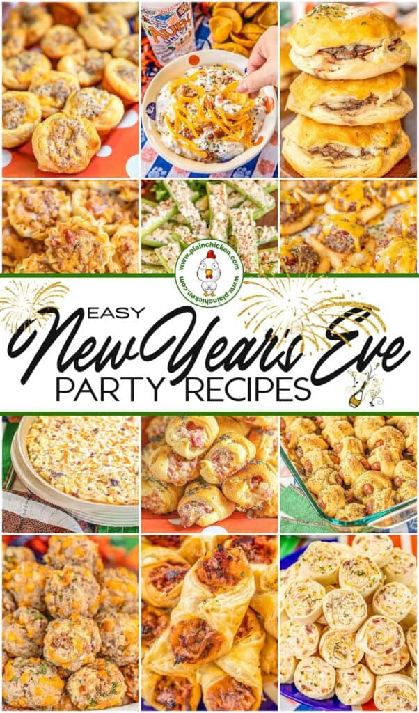 collage of 12 NYE party food recipes