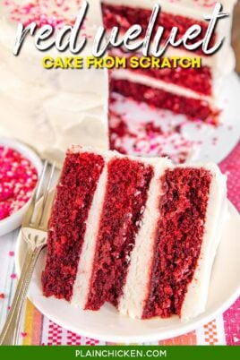 slice of red velvet cake on a plate