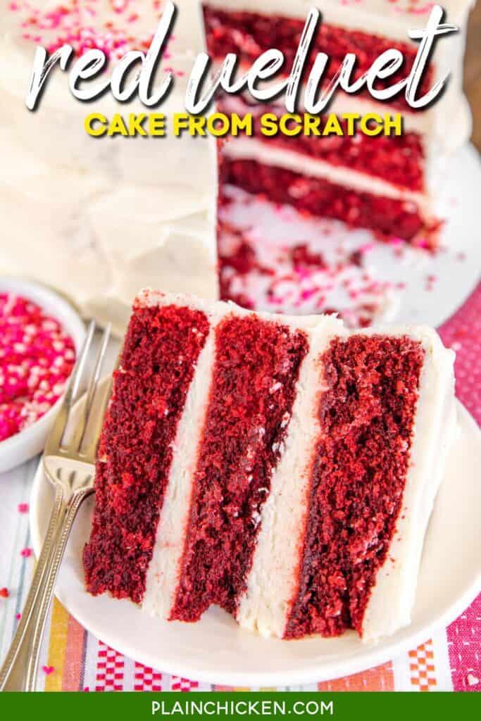 slice of red velvet cake on a plate