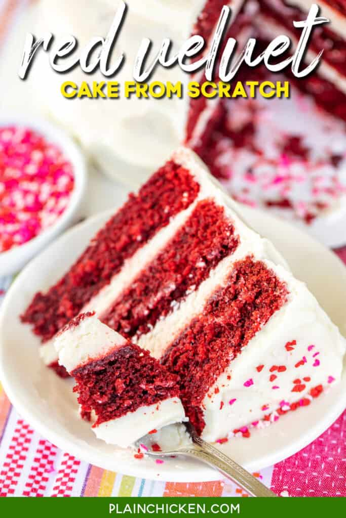 slice of red velvet cake cut with a fork