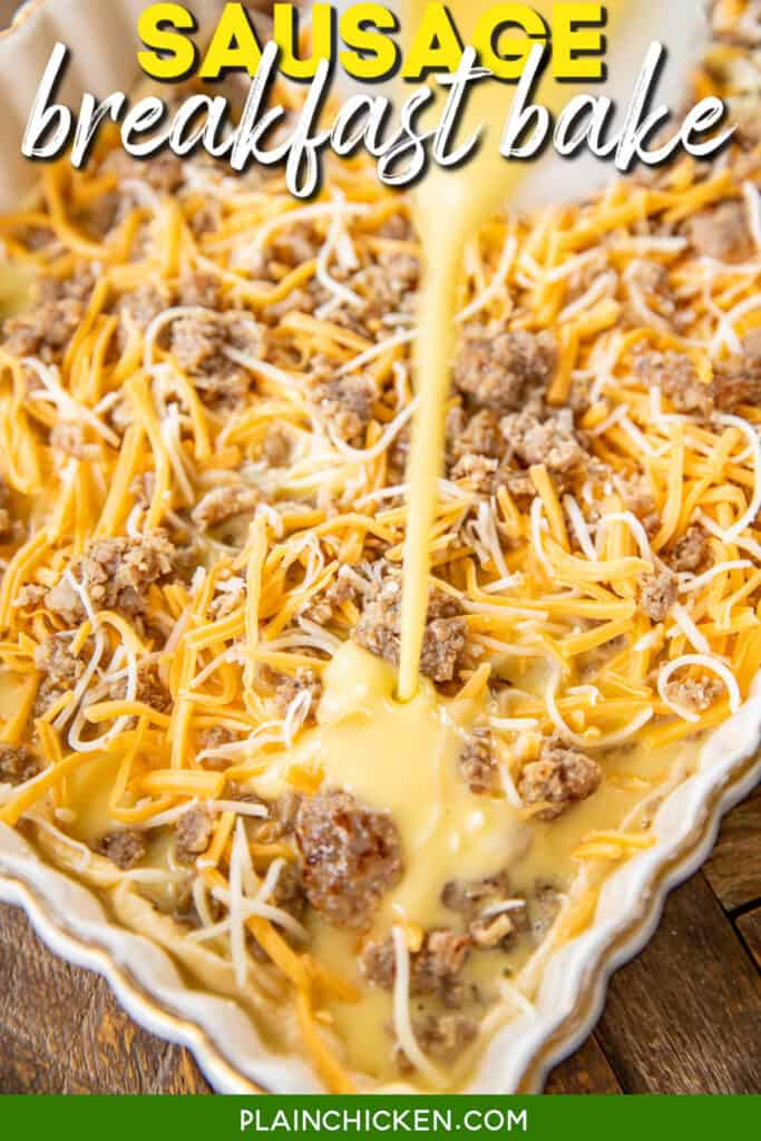 pouring egg custard over sausage and cheese in baking dish