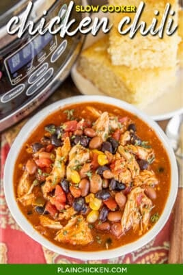 bowl of chicken chili with beans