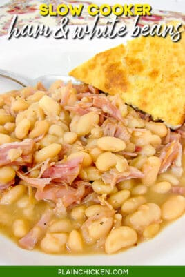 bowl of ham & white beans with cornbread