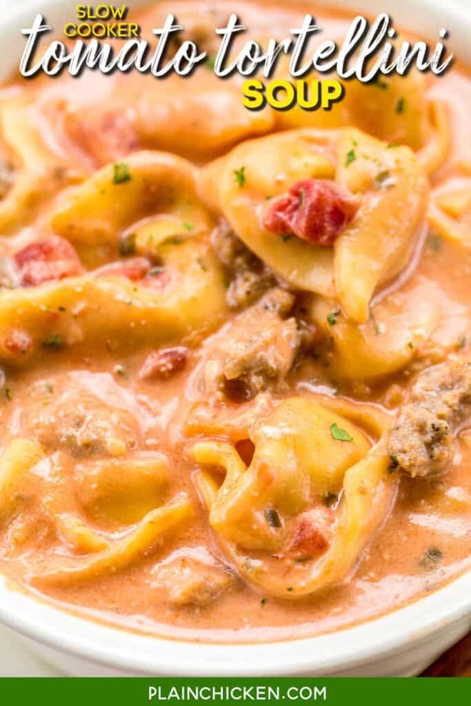 bowl of tomato tortellini soup