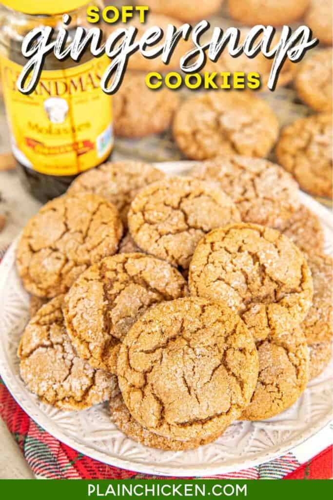 plate of gingersnap cookies